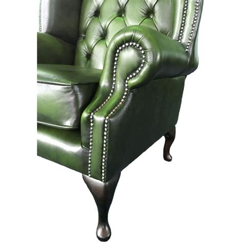 green chesterfield armchair chesterfield antique green genuine leather queen anne armchair