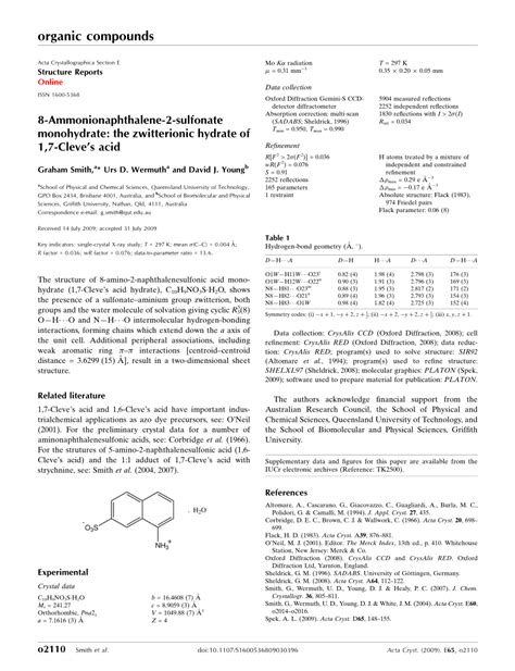 acta crystallographica section e structure reports online impact factor 8 ammonionaphthalene 2 sulfonate monohydrate the