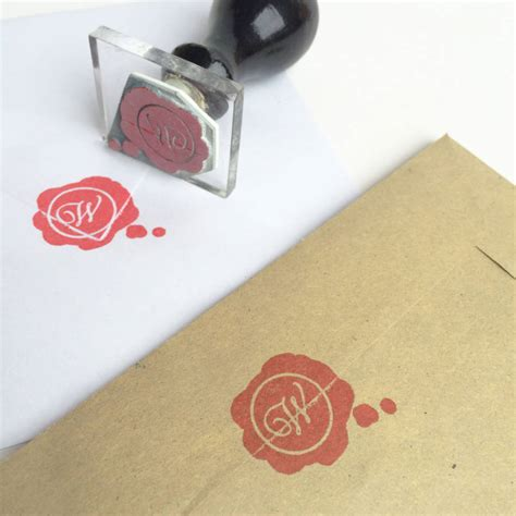 rubber st initials wax seal style monogram rubber st by stomp sts