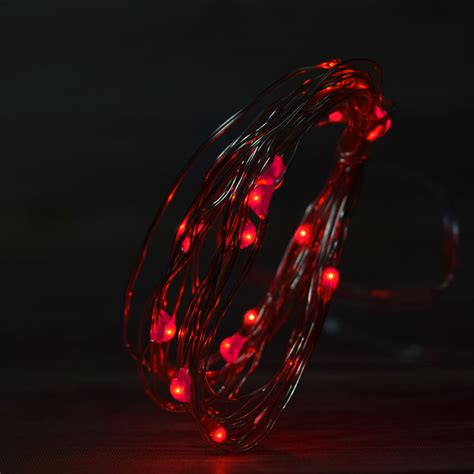 20 Red Led Fairy Wire Waterproof String Lights W Timer String Lights With Timer