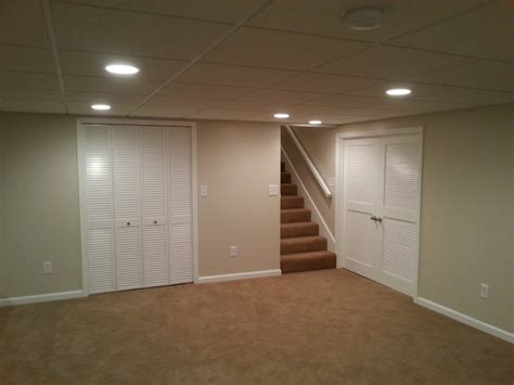 basement finish carpet trim doors drop ceiling canned