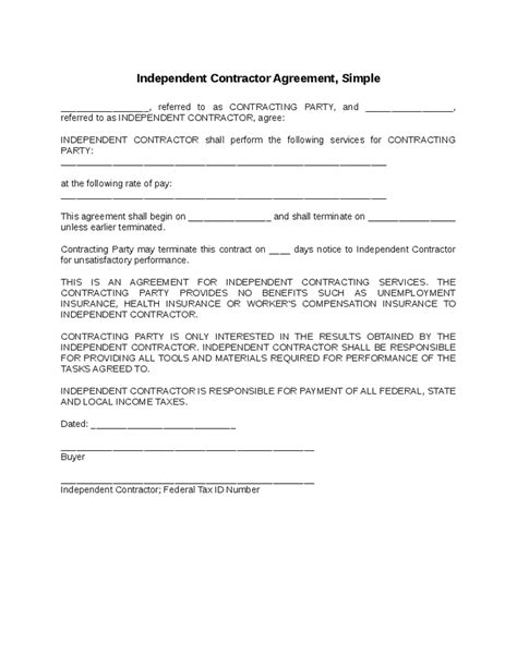 tax agreement template independent contractor agreement simple tax tips