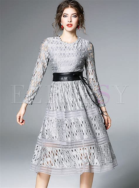 Lace Sleeve Hollow Dress With Belt hollow out belted lace skater dress ezpopsy