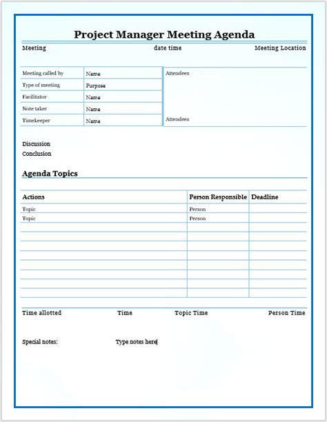 project managers meeting agenda template printable