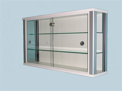 white wall mounted glass display cabinet for shops