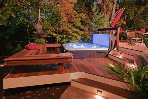 Backyard Deck Designs With Tub by 1000 Ideas About Small Patio Design On Small
