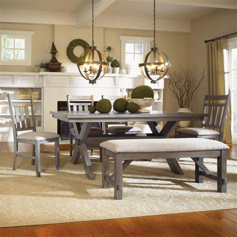 kitchen dining sets with benches powell turino grey oak dining room kitchen table 4 chairs