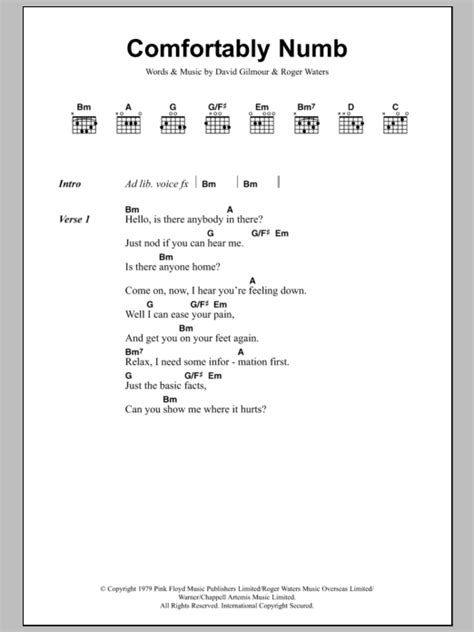 lyrics for comfortably numb comfortably numb by pink floyd guitar chords lyrics