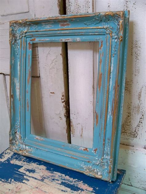 Large Heavy Wood Frame Beachy Blue Distressed Shabby Chic Distressed Frames Shabby Chic