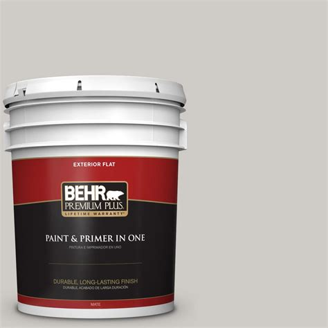 BEHR Premium Plus 5 gal. #PPU26 10 Chic Gray Flat Exterior Paint 405005   The Home Depot