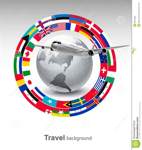 flags of the world x plane travel background globe with a plane and a circle of