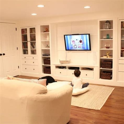 Ikea Basement Ideas Hometalk Wall Of Built Ins Out Of Ikea Hemnes Cabinets