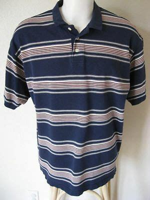mens polo shirt xl trader bay dark blue stripe casual classic fit  cotton usd