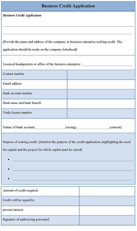 credit application templates application template for business credit sle of