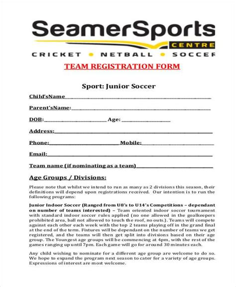 team registration form template registration form templates