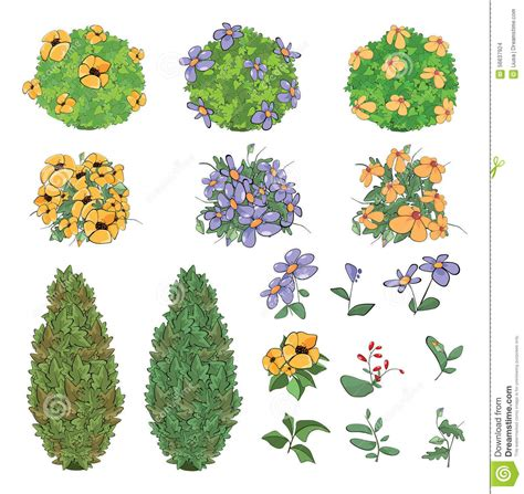 design flower game set of garden plants with flowers for you design and