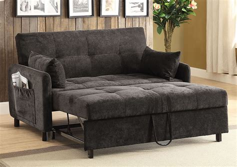 dark brown twill fabric adjustable sofa bed  side pockets accent pillows