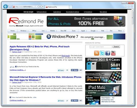 Itunes 9 For Windows And Mac Redmond Pie by Explorer 9 Beta Ie9 For Windows 7 Redmond Pie