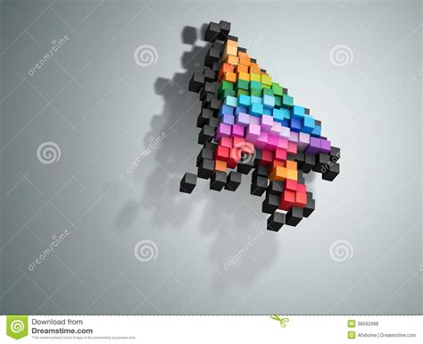 cursor color crumbling cursor color pixel computer mouse royalty free