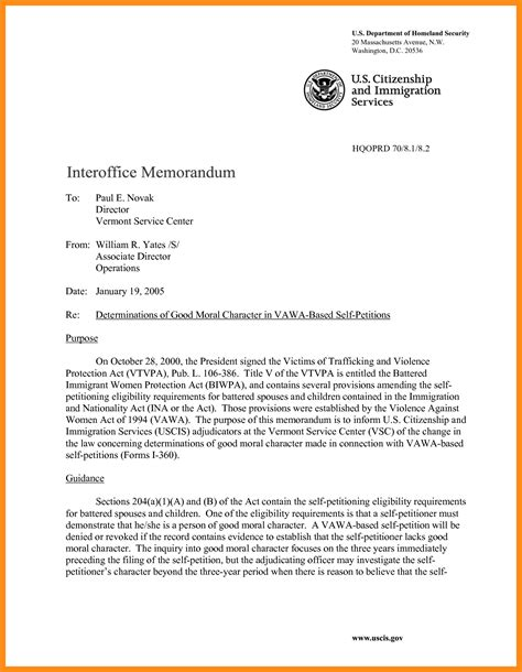 character reference letter memo exle