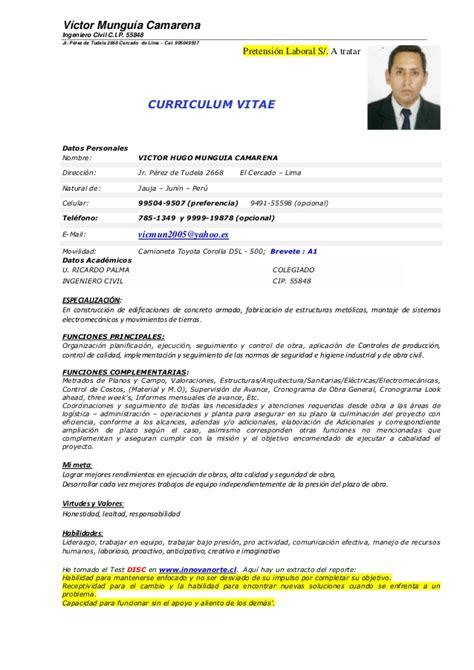 Modelo Curriculum Vitae Ingeniero Civil Curriculum Vmc Ing Resid De Obra 2014
