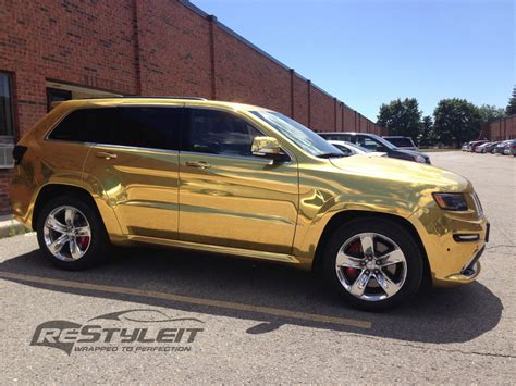gold jeep 2014 jeep grand cherokee srt8 wrapped in gold chrome