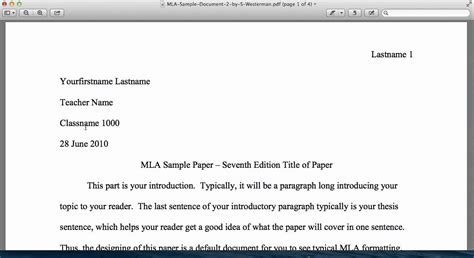 Essay Writing Tutorial by Mla Style Tutorial General Format Introduction