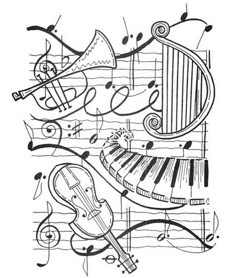 coloring pages music adult coloring page music harp trumpet violin piano 2