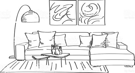 room sketch free sketch of modern living room interior stock