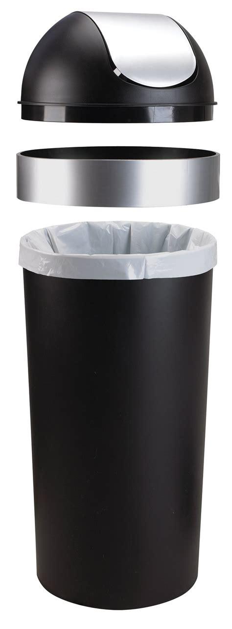 swing top trash can umbra venti 16 gallon swing top trash can black nickel