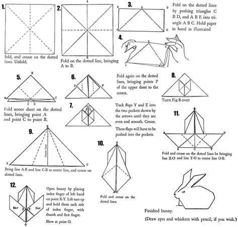 Origami Rabbit Diagram - http www artistshelpingchildren org crafts images