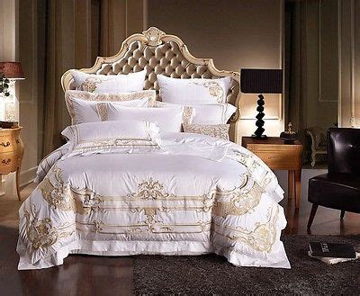 white and gold bed set details about white and gold royal luxury 7pcs duvet cover