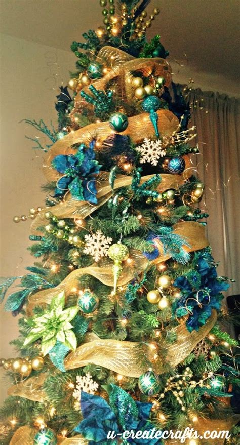 blue and gold christmas trees tree challenge peacock tree