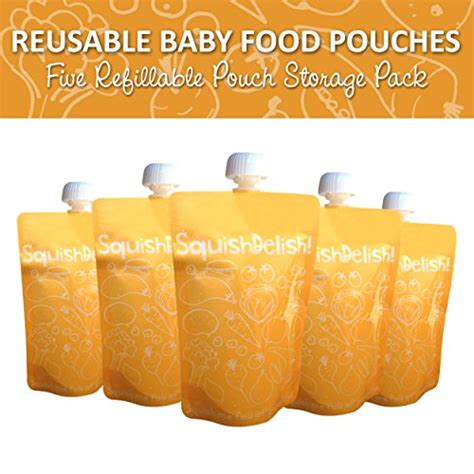 Squish For By Jaya Cell 88 squish delish 5 x large reusable baby food pouches with