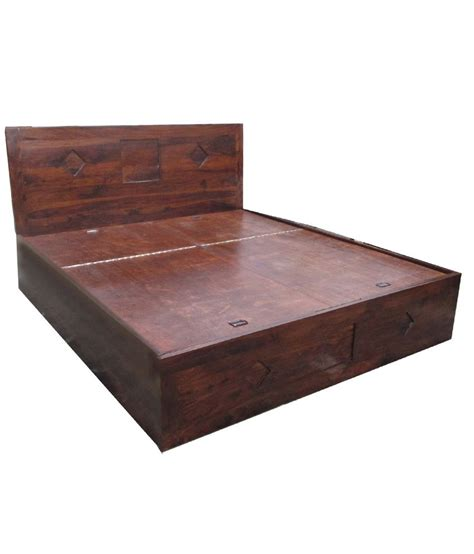 Solid Wood King Size Bed With Storage Buy Online At Best Solid Wood Bed With Storage