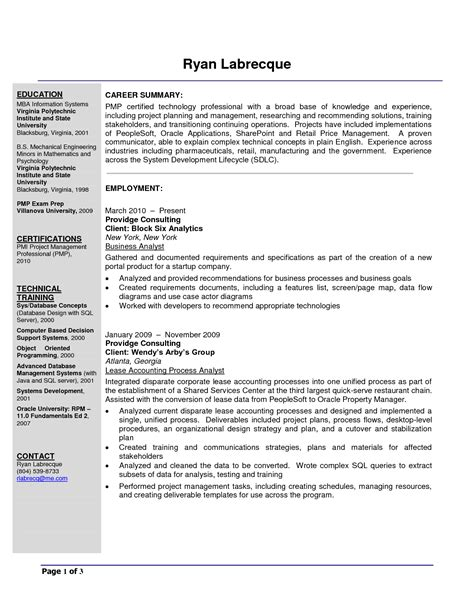 business analyst objective statement resume exles templates free sle resume exles