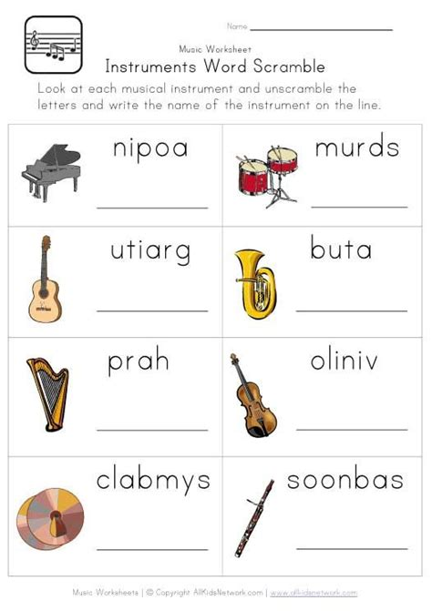printable games for music instruments word scramble worksheet classroom
