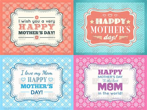 images of day cards set of retro happy mothers day cards vector image 69560