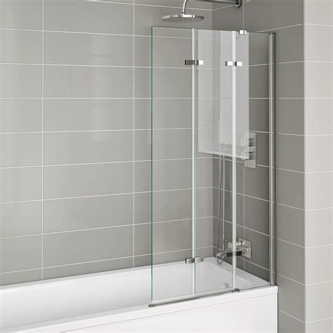 Bath Shower Screens 800x1400mm Modern Right Luxury Folding 6mm Bath