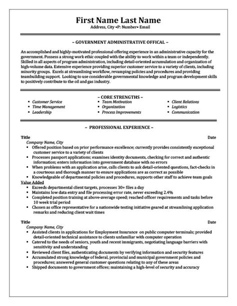 Administrative Assistant Federal Government Resume Peace Officer Resume Template Premium Resume Sles