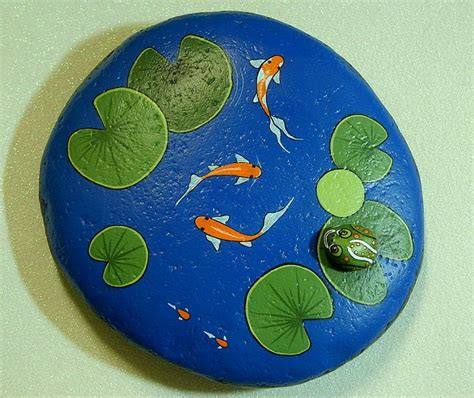 Painted Rocks For Garden Koi Pond Large Weatherproof Rock Garden Decor Cobalt Blue Water Feature Ooak Gift For Gardener