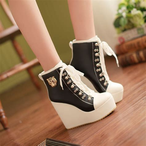 2016 plus size womens wedge heels ankle boots lace up high