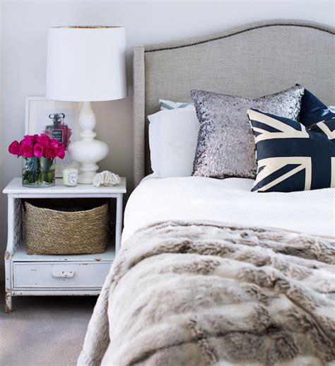 bedroom magazine gray linen headboard contemporary bedroom adore magazine