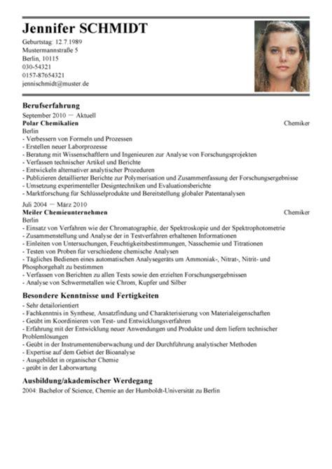 Lebenslauf Vorlage Bachelor Lebenslauf Chemiker Muster Lebenslauf Chemikerin Vorlage Livecareer