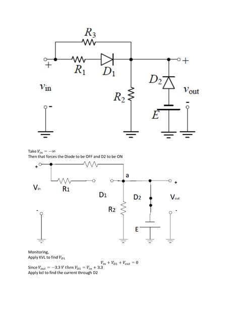 resistor value of an ideal diode in the region of conduction voltage plotting vout vs vin for an ideal diode resistor circuit electrical