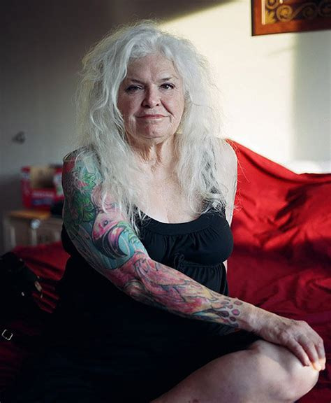tattooed old lady tattooed pensioners pose to prove that inkings look