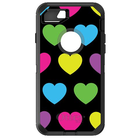 Casing Iphone 7 Plus Gameboy Color Custom custom otterbox defender for iphone 6 6s 7 plus black multi color hearts ebay