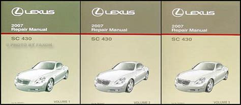 car repair manual download 2007 lexus sc engine control 2007 lexus sc 430 repair shop manual original 3 volume set