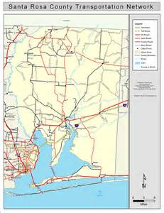 map of santa rosa florida santa rosa county road network color 2009