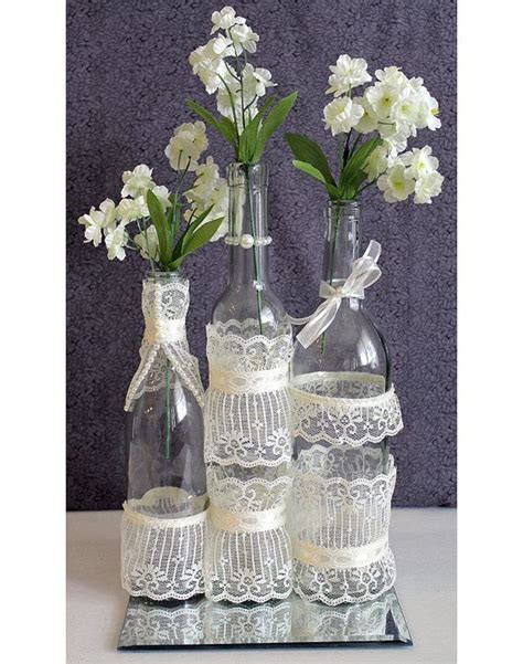 SET(3)  Decorated Wine Bottle Centerpiece Vintage Ivory